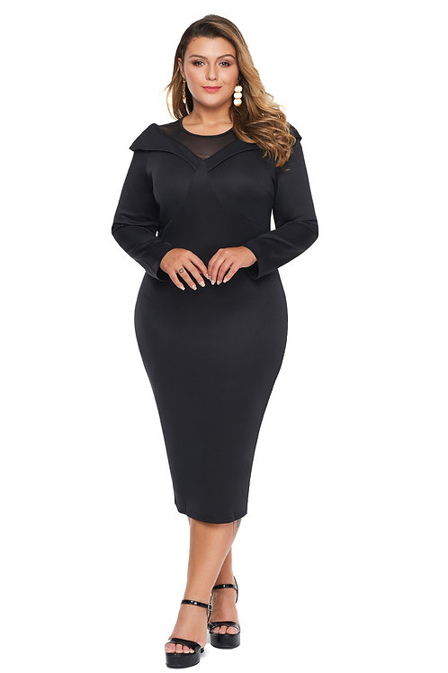 Black Mesh Neck Midi Dress