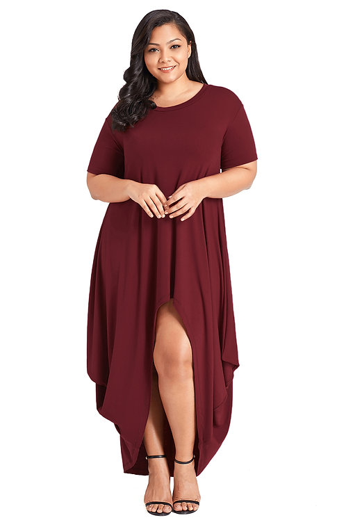 Burgundy Plus Size Hi-Lo Slit Maxi Dress
