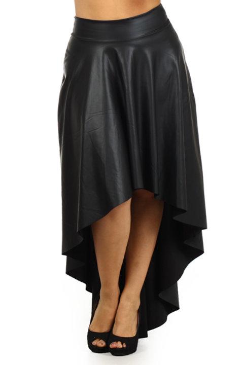 Black Faux Leather Hi-Lo Skirt