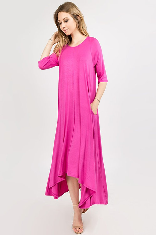 Fuchsia Short Sleeve Maxi Dress
