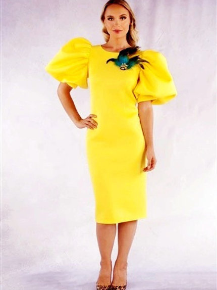 Yellow Puff Sleeve Body Con w/ Peacock Feather