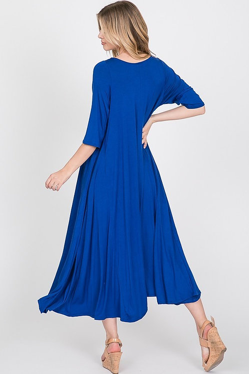 Royal Blue Short Sleeve Maxi Dress
