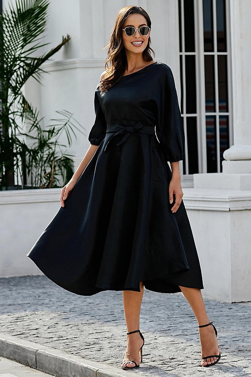 Black One Shoulder Puffy Sleeve Party Dress
