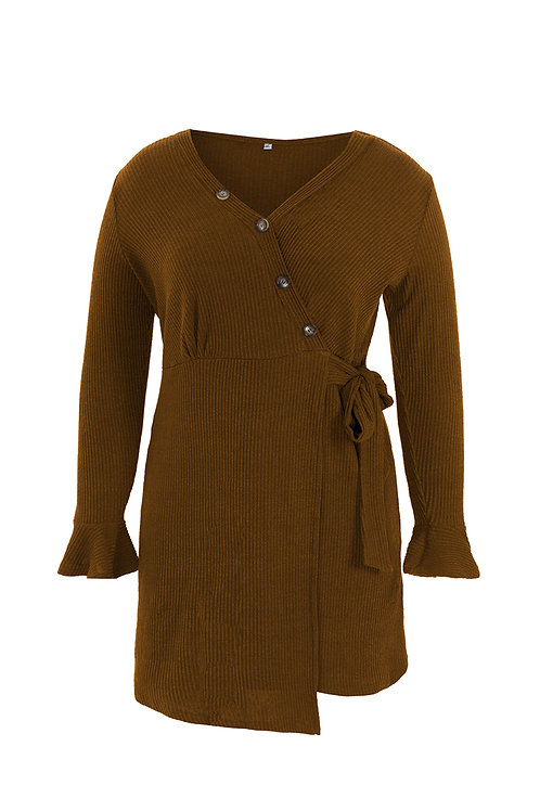 Brown Stylish Button Wrap Dress