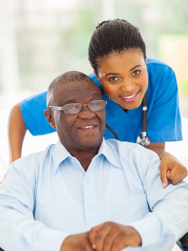 elderly african american man and caring