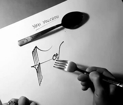 Calligraphy.  With a Fork?