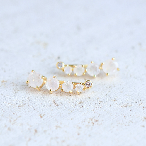 Moonstone Climber Earrings
