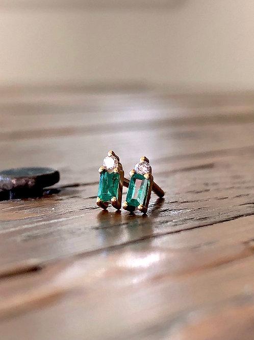 Emerald Baguette Earrings