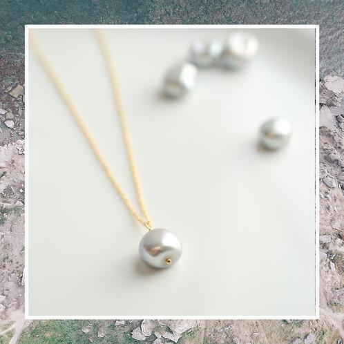 Silver Pearl Drop Necklace