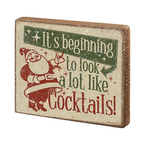 Cocktails Block Sign