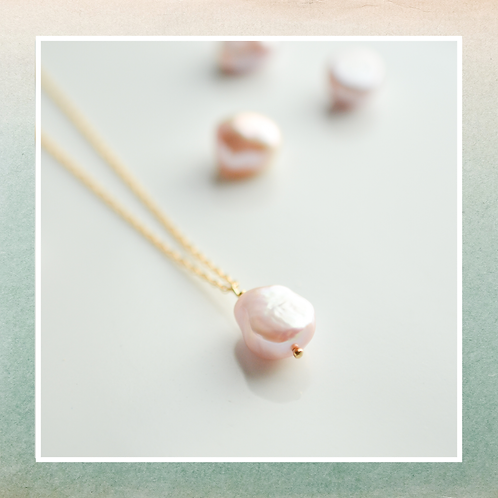 Pink Pearl Drop Necklace