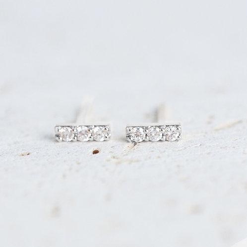 Triple Diamond Bars in Silver