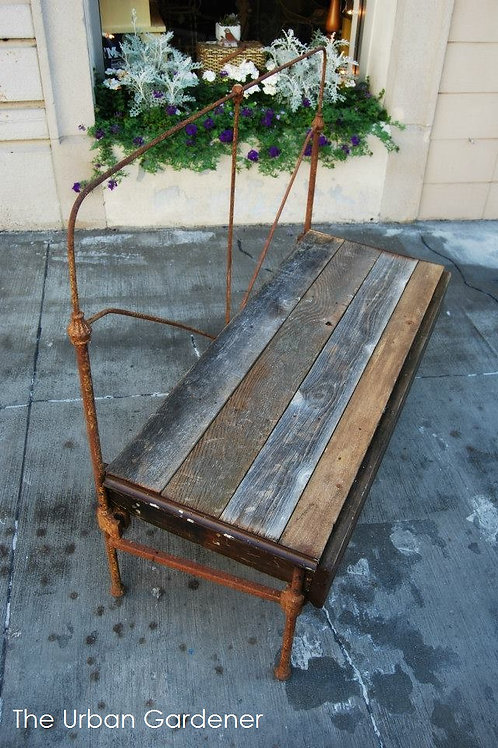 Sold: Upcycled Bed Frame Garden Bench