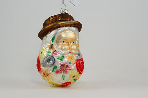 Flower Bearded Garden Santa Ornament