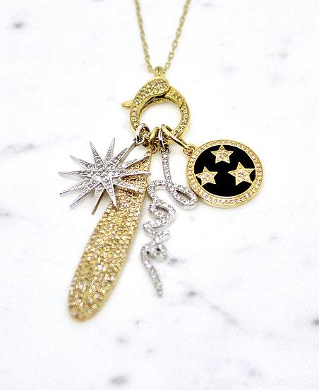 gold and diamond charm necklace, Barrett Ford Jewelry