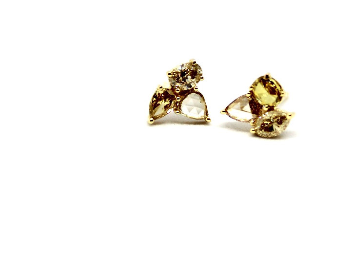champagne yellow and white diamond stud earrings, Barrett Ford Jewelry