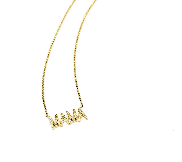 gold and diamond mama necklace, mom necklace, Barrett Ford Jewelry