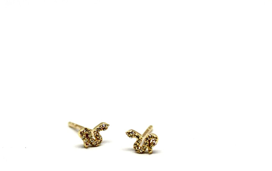 diamond and gold snake stud earrings, Barrett Ford Jewelry