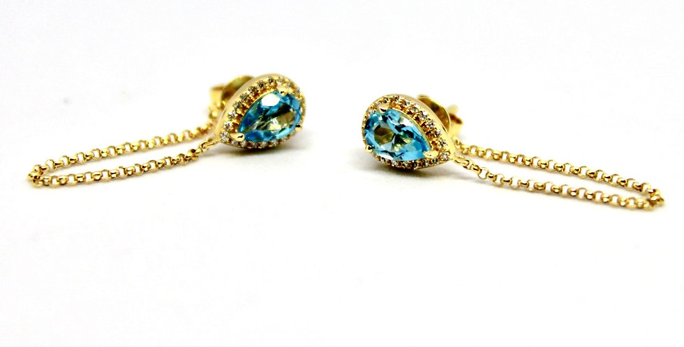 Blue apatite and pave diamond stud earrings, Barrett Ford Jewelry