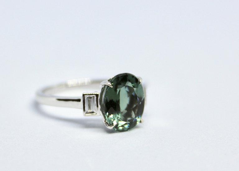 bottle green oval ring