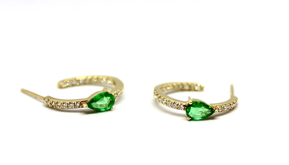 Pave diamond and teardrop emerald diamond hoops, Barrett Ford Jewelry