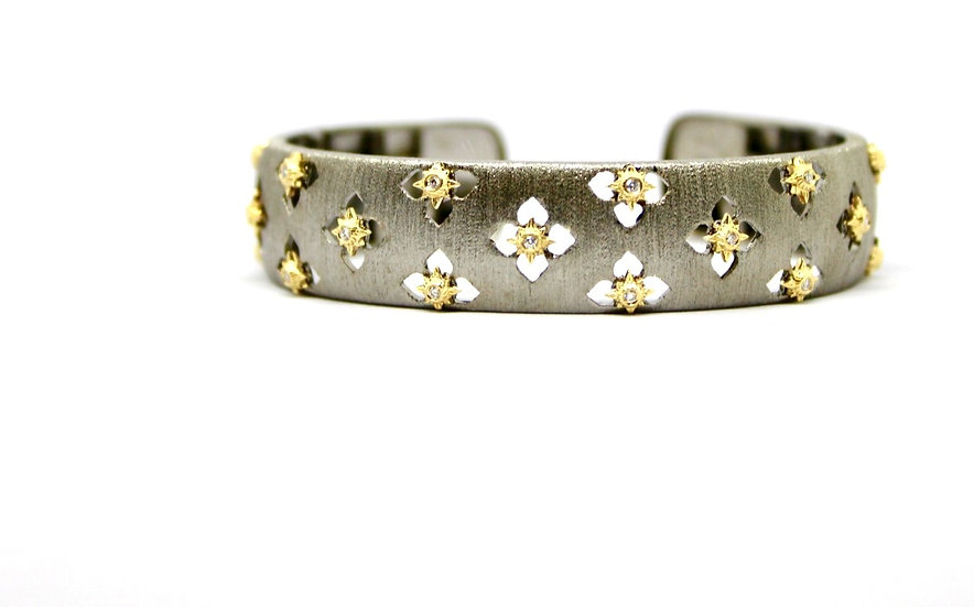 Brushed gunmetal, gold and diamond flower cuff bracelet, Barrett Ford Jewelry