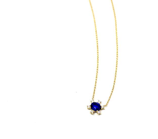 Sapphire solitaire with square shape diamonds pendant necklace, Barrett Ford Jewelry