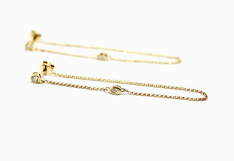 Solitaire Chain Earrings