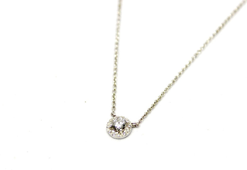 square solitaire diamond necklace, Barrett Ford Jewelry