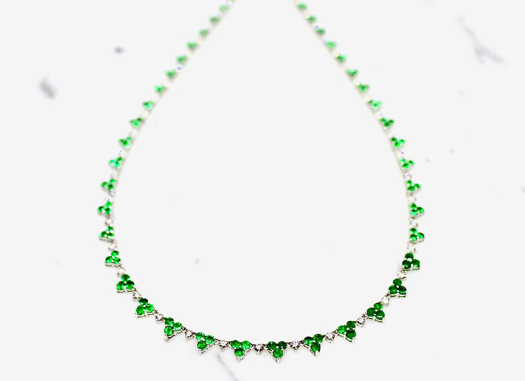Three Leaf Clover Tennis Necklace