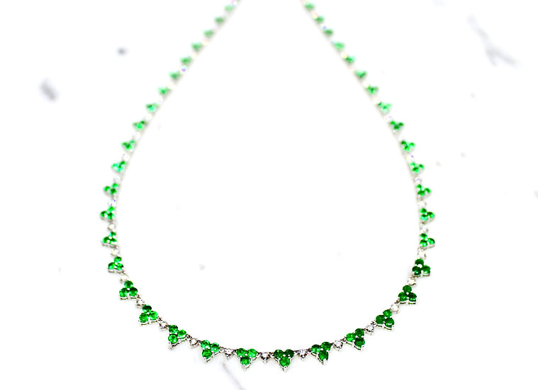Three Leaf Clover Tennis Necklace