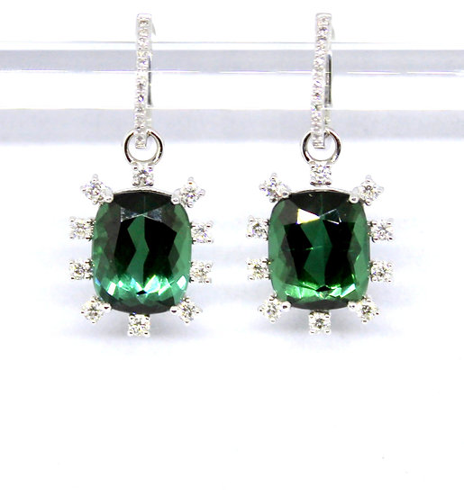 Large green cushion-cut tourmaline and diamond white gold earrings, Barrett Ford Jewelry