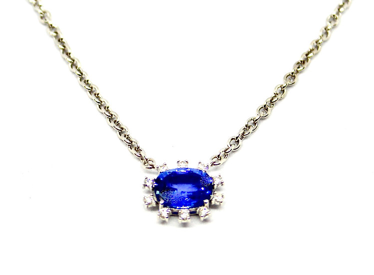 oval sapphire surrounded by square cut diamonds necklace, barrett ford jewelry
