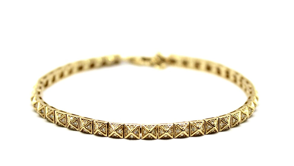 gold flexible pave diamond bracelet, Barrett Ford Jewelry