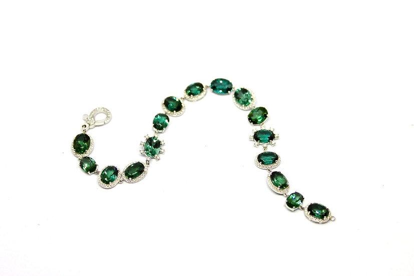 green stone and pave diamond bracelet, Barrett Ford Jewelry