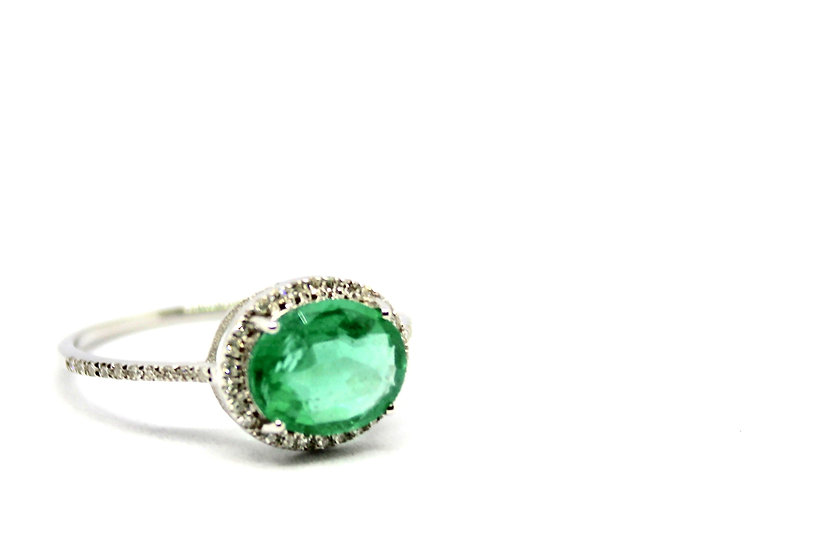 emerald and pave diamond white gold ring, Barrett Ford Jewelry