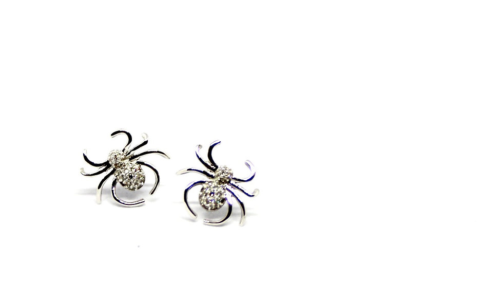 white gold diamond spider earrings, barrett ford jewelry