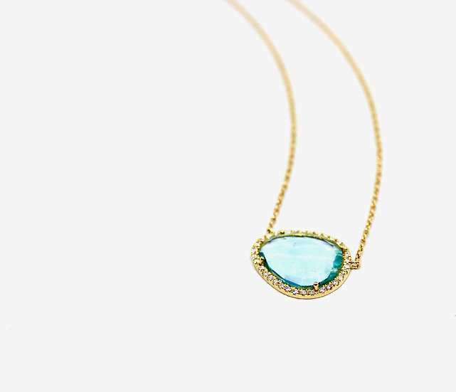 rosecut aqua necklace