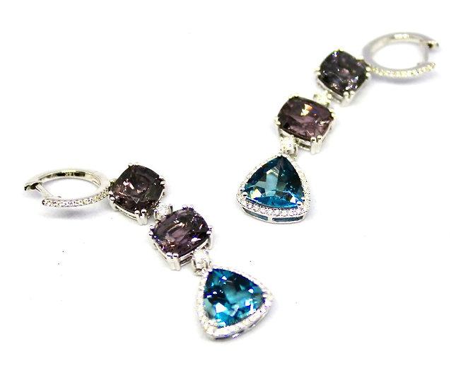 Ombre cushion cut purple Spinel and teardrop London Blue Topaz earrings, Barrett Ford Jewelry