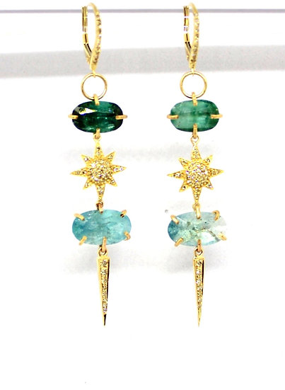 Tourmaline and sapphire drop earrings with yellow gold, pave diamond star and spike charms, barrett ford jewelry