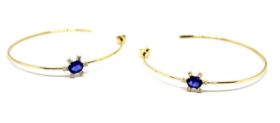 sapphire solitaire hoops, Barrett Ford Jewelry