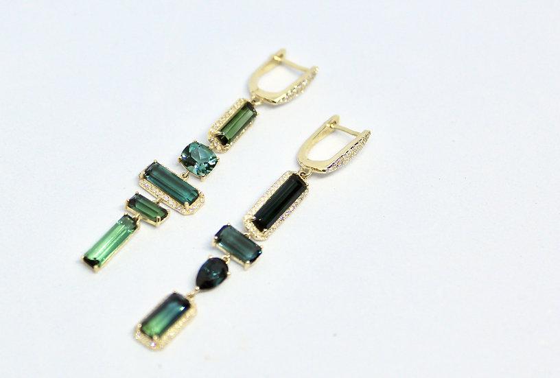 tourmaline ladder earrings