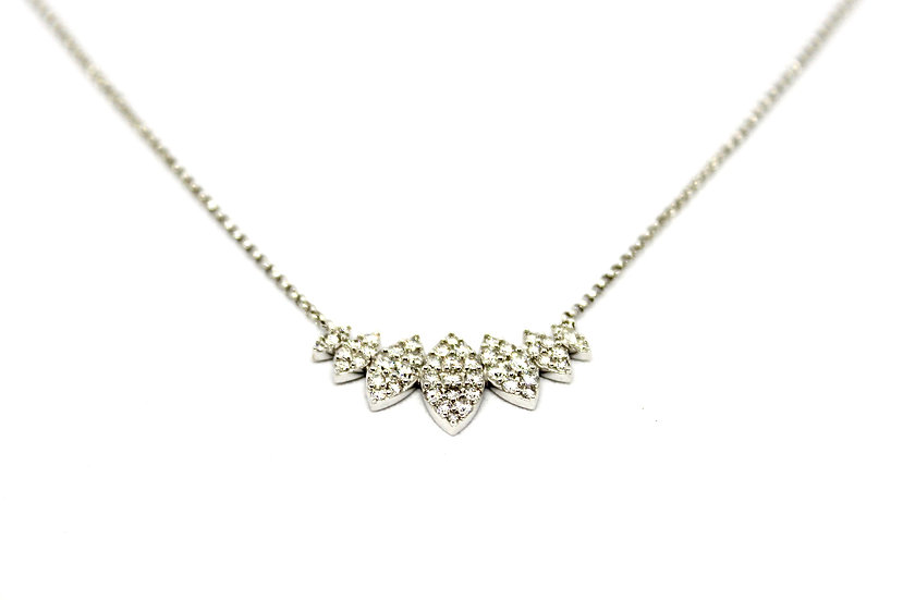 Graduated marquis diamond necklace in white gold, barrett ford jewelry