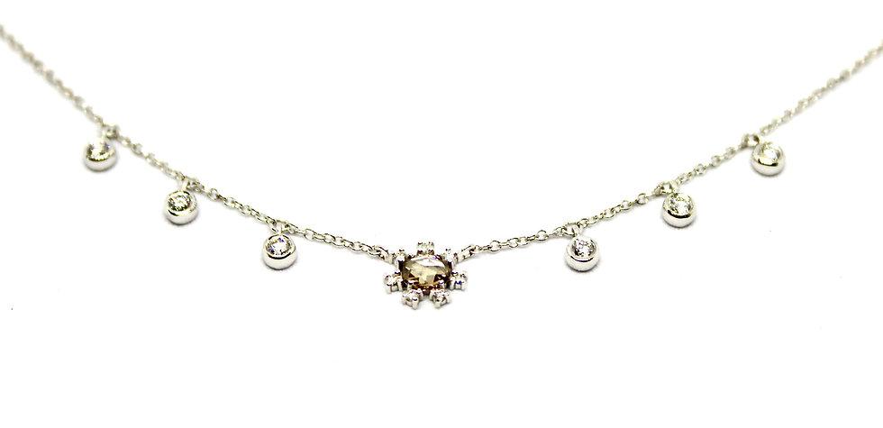 champagne square cut diamond necklace, barrett ford jewelry