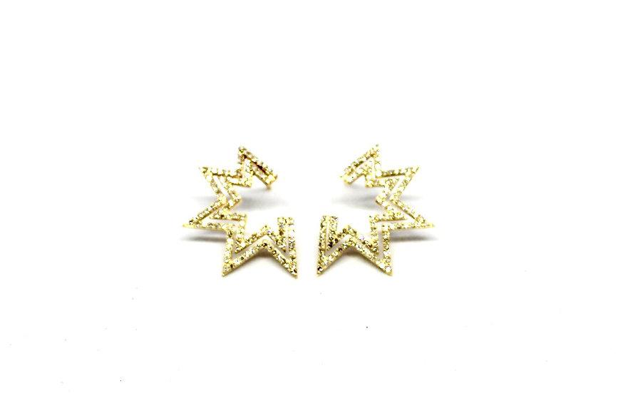 gold and diamond firework earrings, barrett ford jewelry