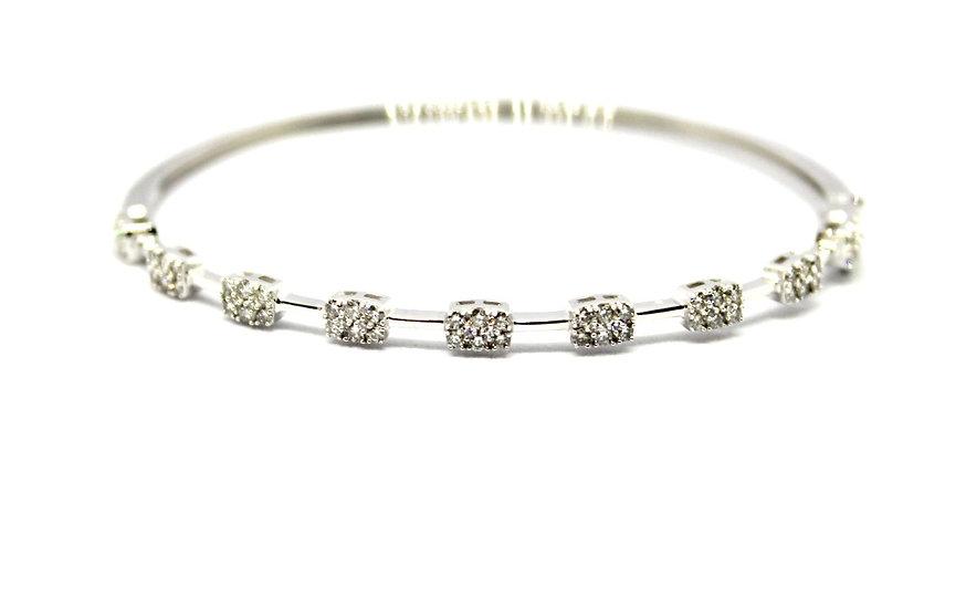 White gold and pave diamond station bangle bracelet, Barrett Ford Jewelry