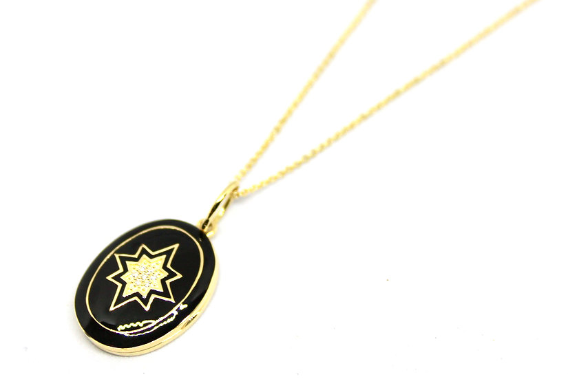 art deco black enamel and yellow gold oval locket, barrett ford jewelry