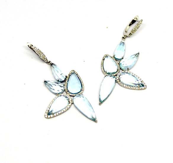 light blue aquamarine and diamond butterfly wing earrings, barrett ford jewelry