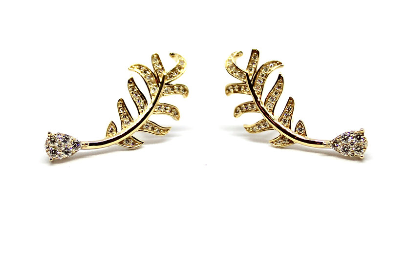 palm leaf gold earrings with pave diamond and saphire base, barrett ford jewelry