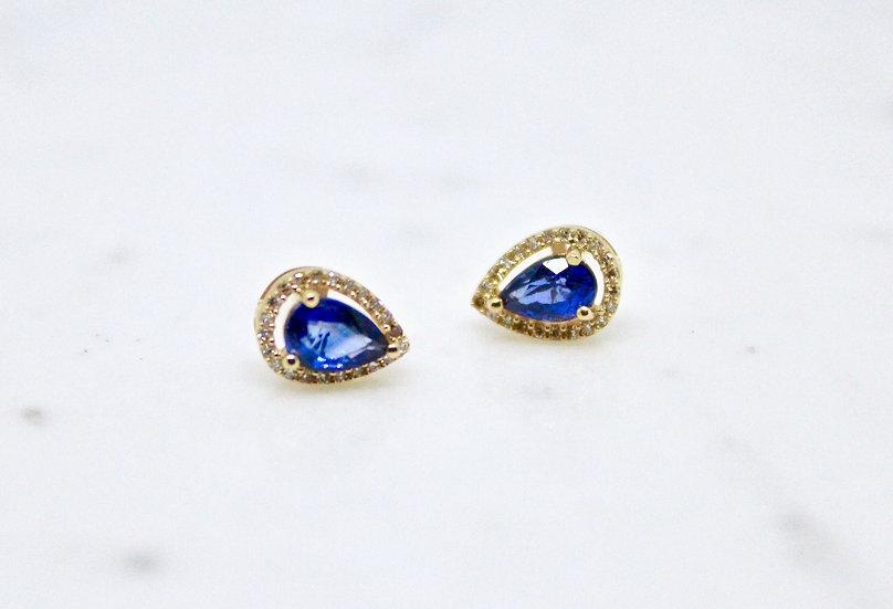 Sapphire Raindrop Stud Earrings